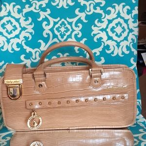 Baby Phat Tan Faux Crocodile W/Gold Accent Purse